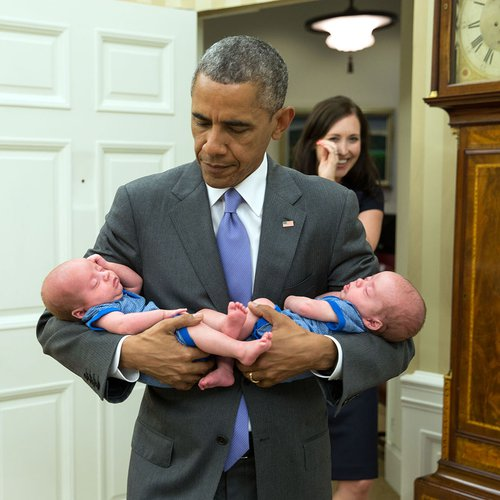 Katie Fallon brings her two new babies to the White House to meet President Obama. He greets them with open arms.
