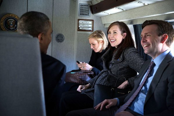 Katie Fallon aboard with Air Force One with President Barack Obama.